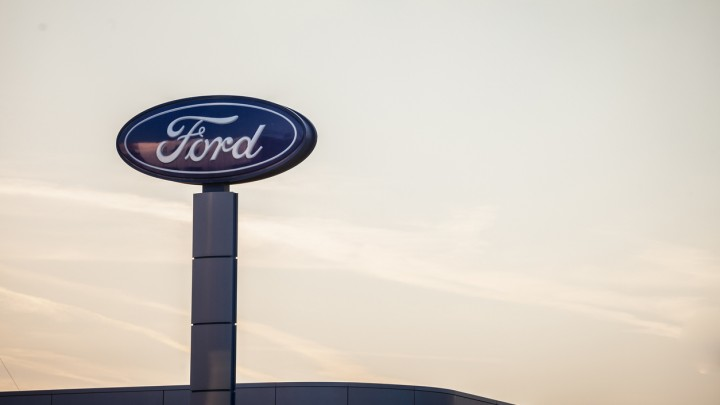 Ford logo on their main dealership store Belgrade. Ford is an American car and automotive manufacturer, the second biggest in the USA