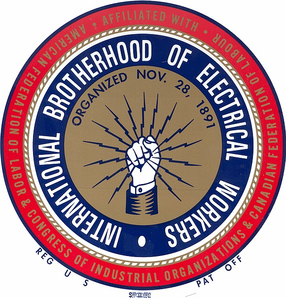 IBEW Local Gold. Red and Blue Logo
