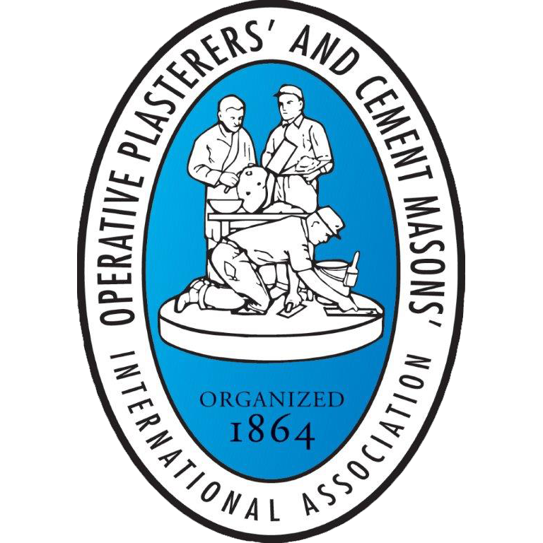 Light blue, black and white Cement Masons Local 502 logo